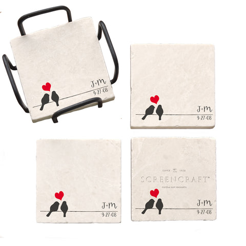 Love Birds Marble Coaster Set