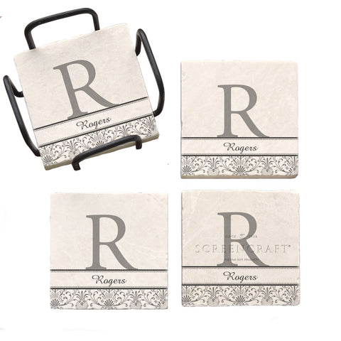 Simple Monogram Marble Coaster Set