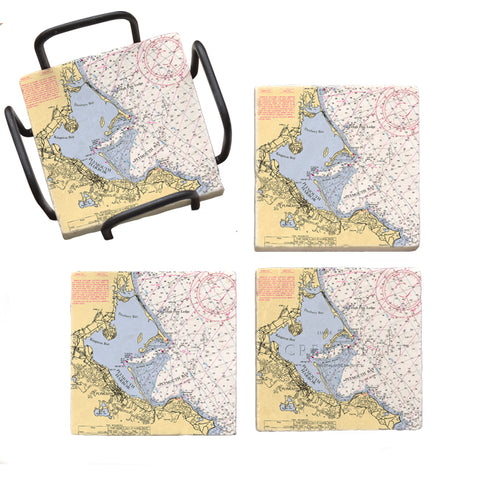 Plymouth, MA Marble Coaster Set