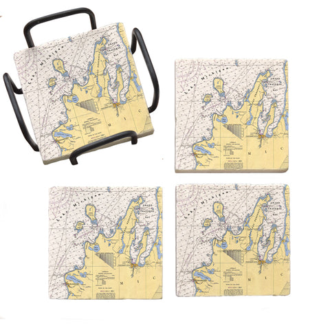 Frankfort, MI  Marble Coaster Set