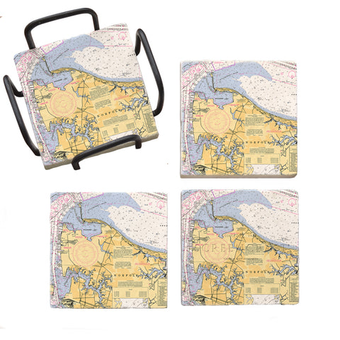 Norfolk, VA  Marble Coaster Set