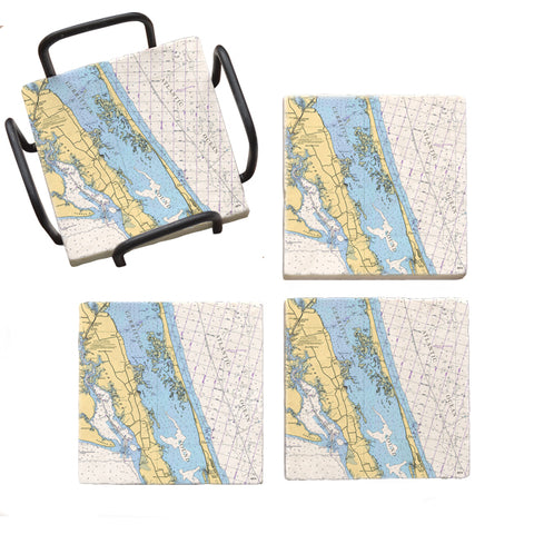 Duck, NC  Marble Coaster Set