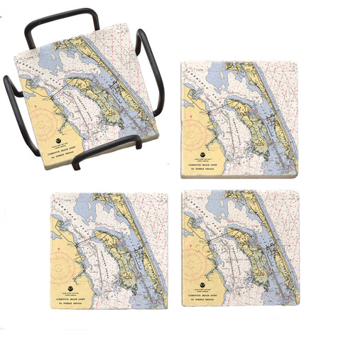 Roanoke Island, NC Marble Coaster Set
