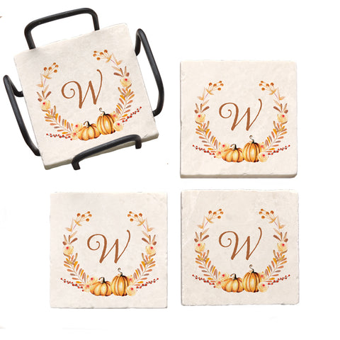 Personalized Autumn Wreath Marble Coaster Set