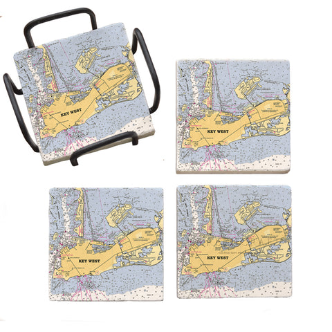 Key West, FL Marble Coaster Set
