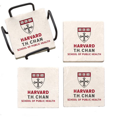 Harvard University Chan School of Public Health Marble Coaster Set