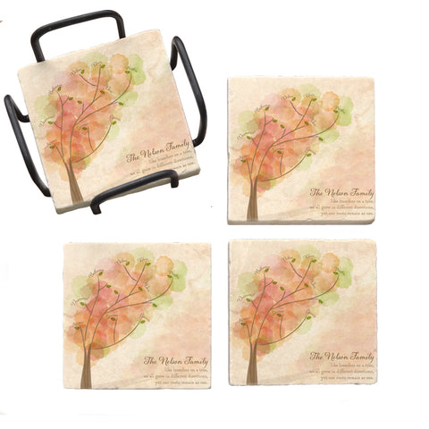 Personalized Family Tree Marble Coaster Set
