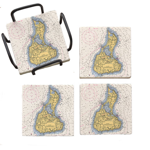 Block Island, RI  Marble Coaster Set