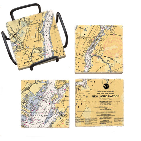 New York Harbor, NY Mural Coaster Set