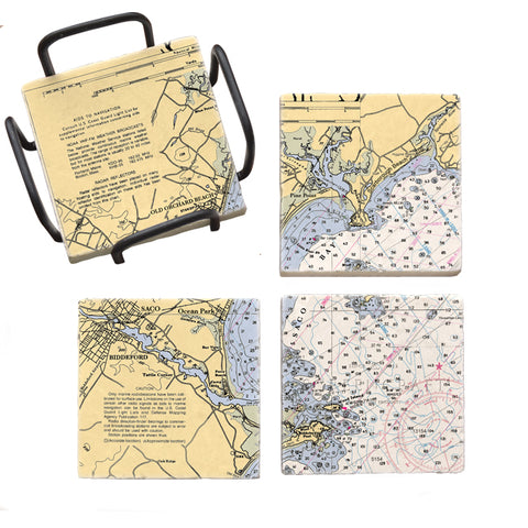 Old Orchard Beach, ME Mural Coaster Set