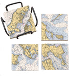 Personalized Nautical Chart Mural Coaster Set