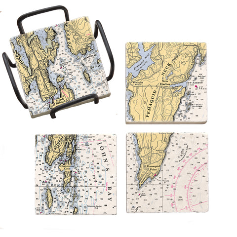 Pemaquid Neck, ME Mural Coaster Set