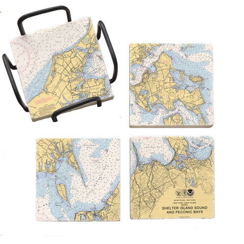 Shelter Island Sound and Peconic Bays Mural Coaster Set