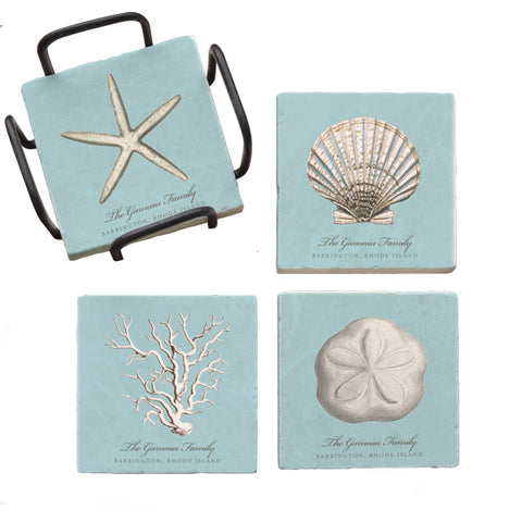 Personalized Marble Coaster Set- Blue Shells