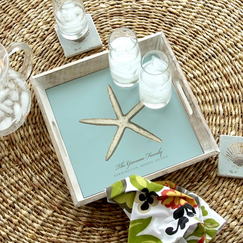 Personalized Serving Tray - Blue Sea Star