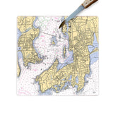 Personalized Nautical Chart Glass Cutting Board