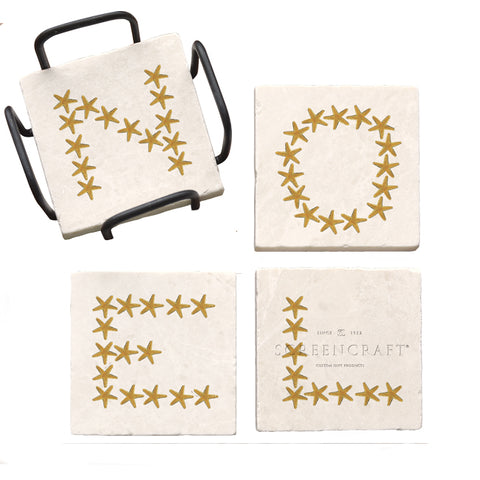 Noel Starfish Marble Coaster Set