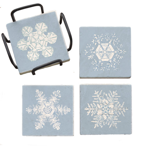 Blue Snowflakes Marble Coaster Set