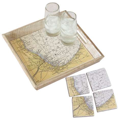 Chicago, IL Tray & Coaster Gift Set