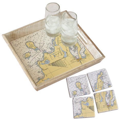 Leelanau Peninsula, MI  Tray & Coaster Gift Set