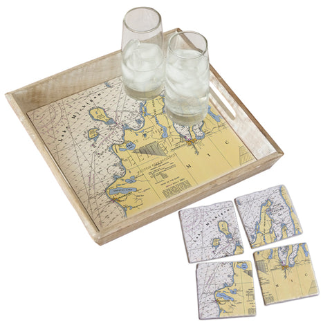 Frankfort, MI  Tray & Coaster Gift Set