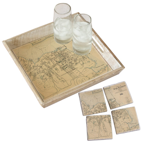 Bar Harbor, ME - Antique Map Tray & Coaster Gift Set
