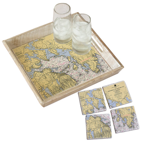 Frenchman Bay, ME Tray & Coaster Gift Set