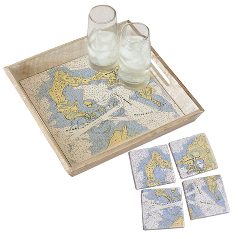 Woods Hole, MA Tray & Coaster Gift Set