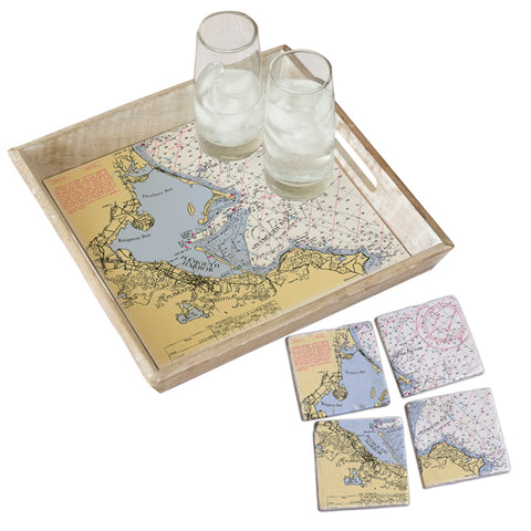 Plymouth, MA Tray & Coaster Gift Set