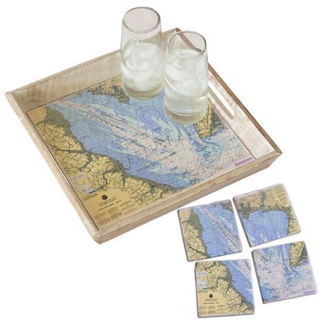 Delaware Bay Tray & Coaster Gift Set