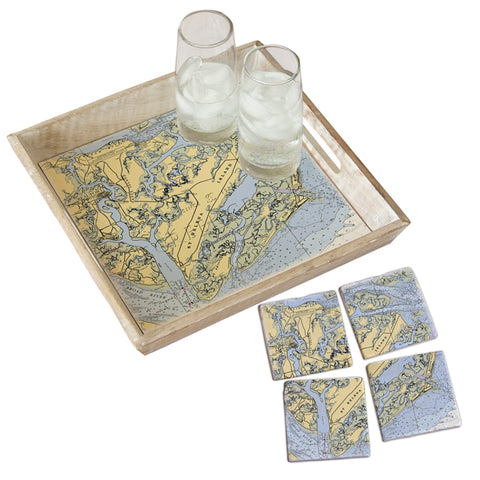 Beaufort, SC  Tray & Coaster Gift Set