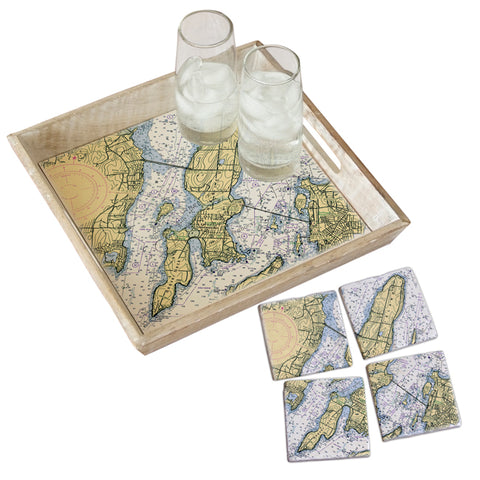 Jamestown, Rhode Island Tray & Coaster Gift Set