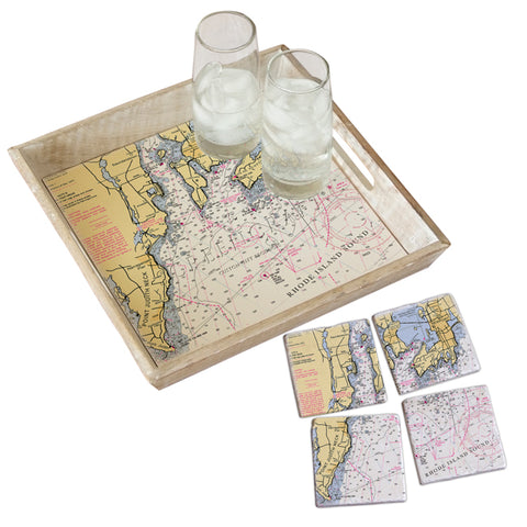 Narragansett Bay Tray & Coaster Gift Set