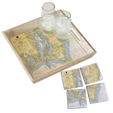 Point Judith, RI Tray & Coaster Gift Set