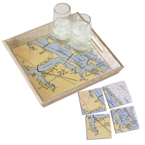 Jensen Beach, FL Tray & Coaster Gift Set