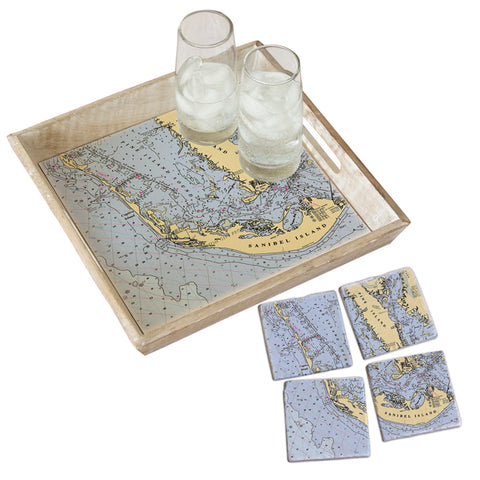 Sanibel Island, FL Tray & Coaster Gift Set