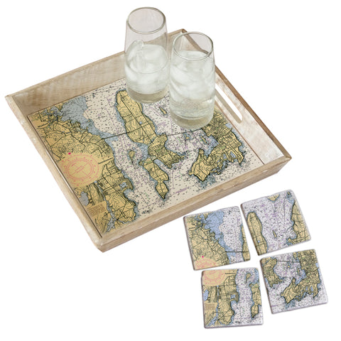 Wickford to Newport, RI Tray & Coaster Gift Set