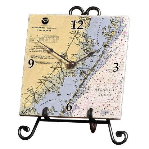 Long Beach Island, NJ Marble Desk Clock