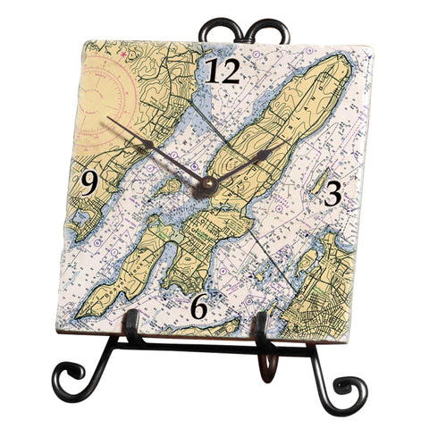 Jamestown, Rhode Island Marble Desk Clock