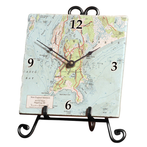 Your Neighborhood Map Marble Desk Clock