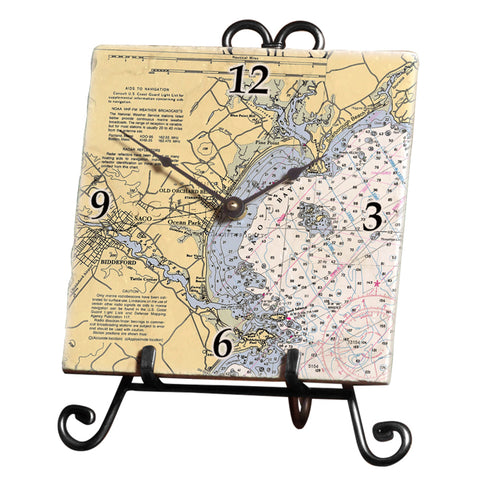 Old Orchard Beach, ME Marble Desk Clock