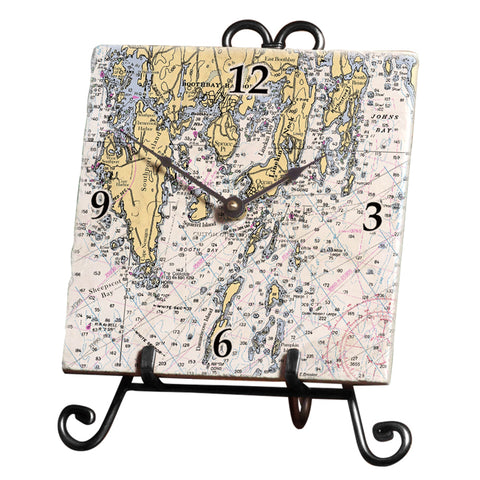 Boothbay Harbor, ME Marble Desk Clock