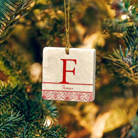 Personalized Monogram Marble Ornament