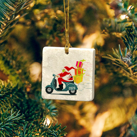"NEW! 2020 ""Masked-up"" Santa by Road! Marble Ornament"