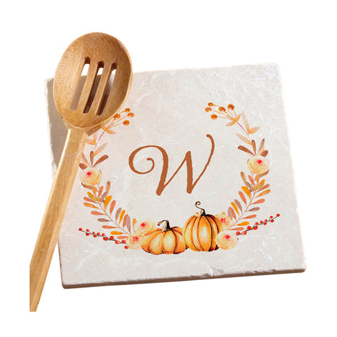 Personalized Autumn Wreath Marble Trivet