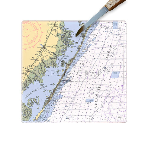 Long Beach Island, NJ  Glass Cutting Board