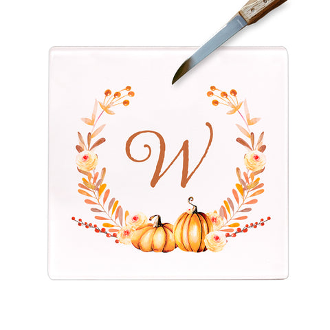 Personalized Autumn Wreath Glass Cutting Board