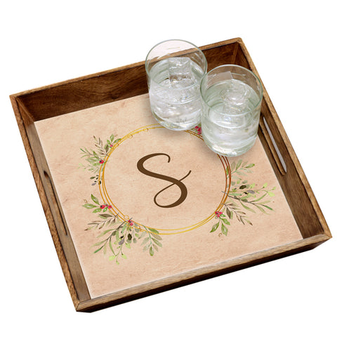 Personalized Wreath Serving Tray