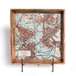 Your Town Map Burnt Wood Serving Tray