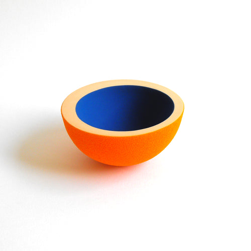 Orange Blue Ceramic Vessel - Handmade Sculpture Piece